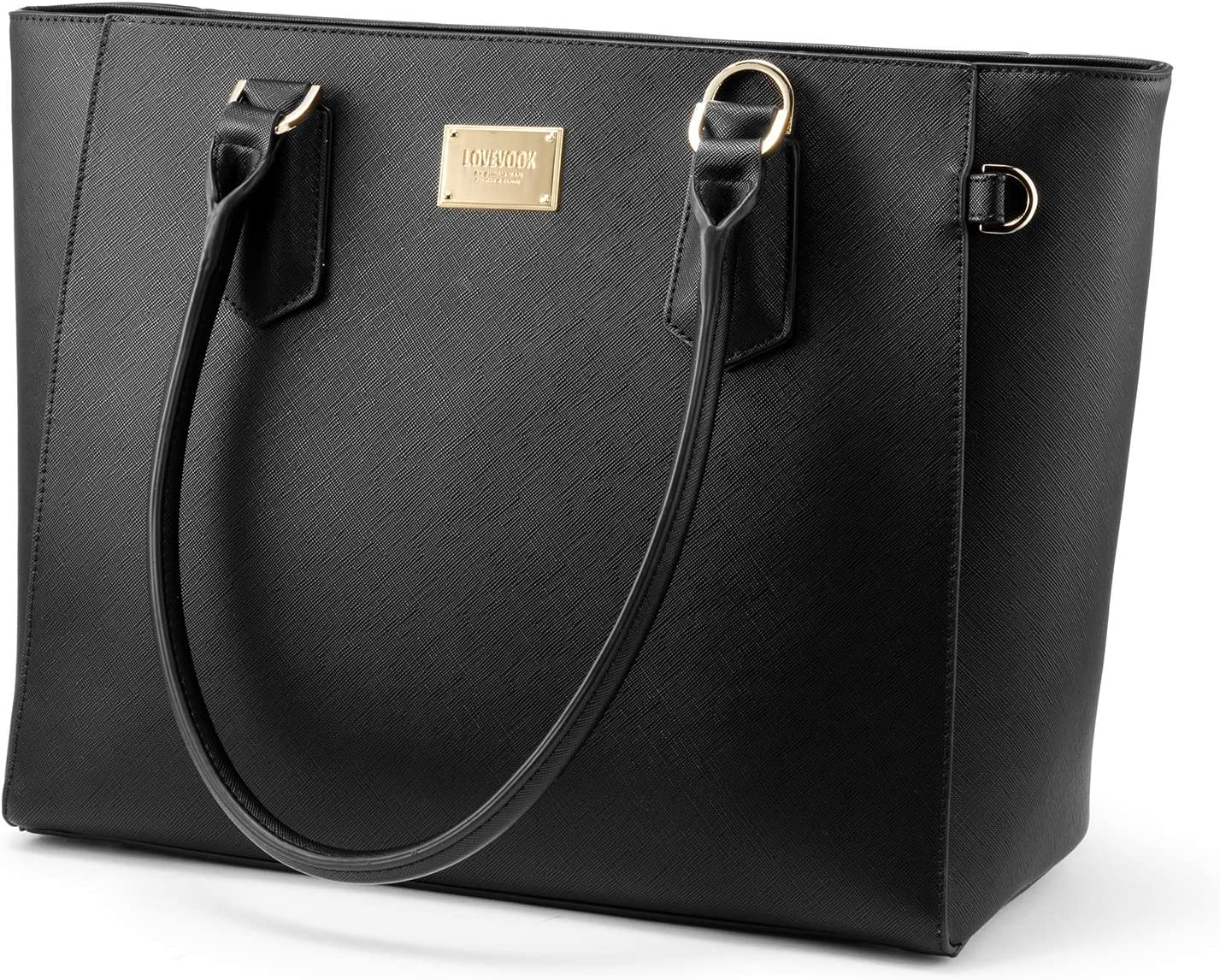 LOVEVOOK Laptop Bag for Women Leather Computer Bag Classic Work Purse, Full Padded Compartment, 15.6-Inch, Black