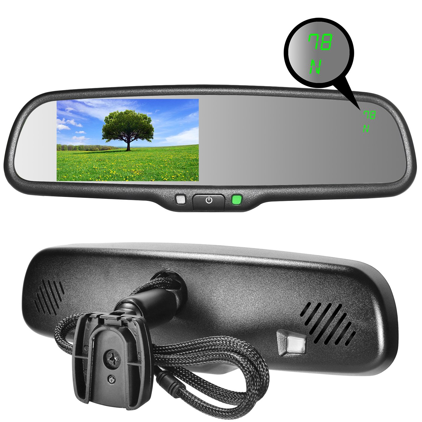 Master Tailgaters OEM Rear View Mirror with 4.3'' Auto Adjusting Brightness LCD + Compass & Temperature - Universal Fit by Master Tailgaters