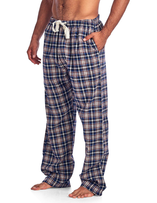Ashford & Brooks Mens Super Soft Flannel Plaid Pajama Sleep Pants - Cream Black - X-Large