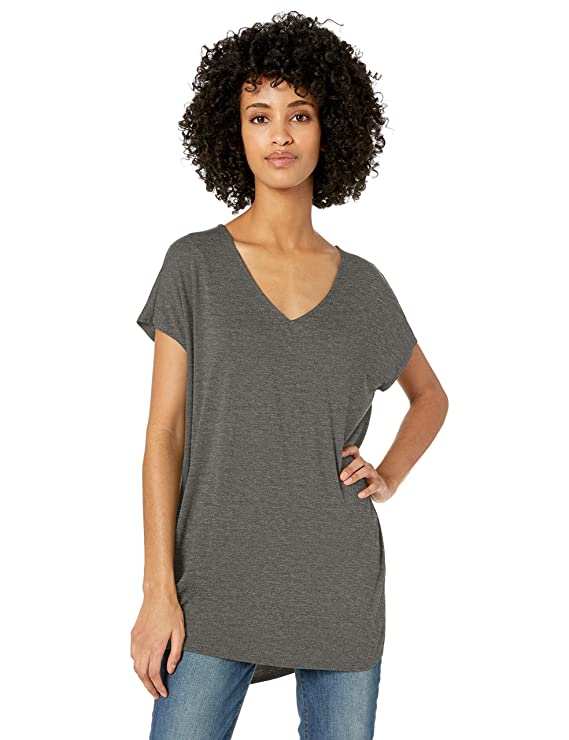 Amazon Brand - Daily Ritual Women's Jersey Dolman-Sleeve V-Neck Tunic, Charcoal Heather, Medium