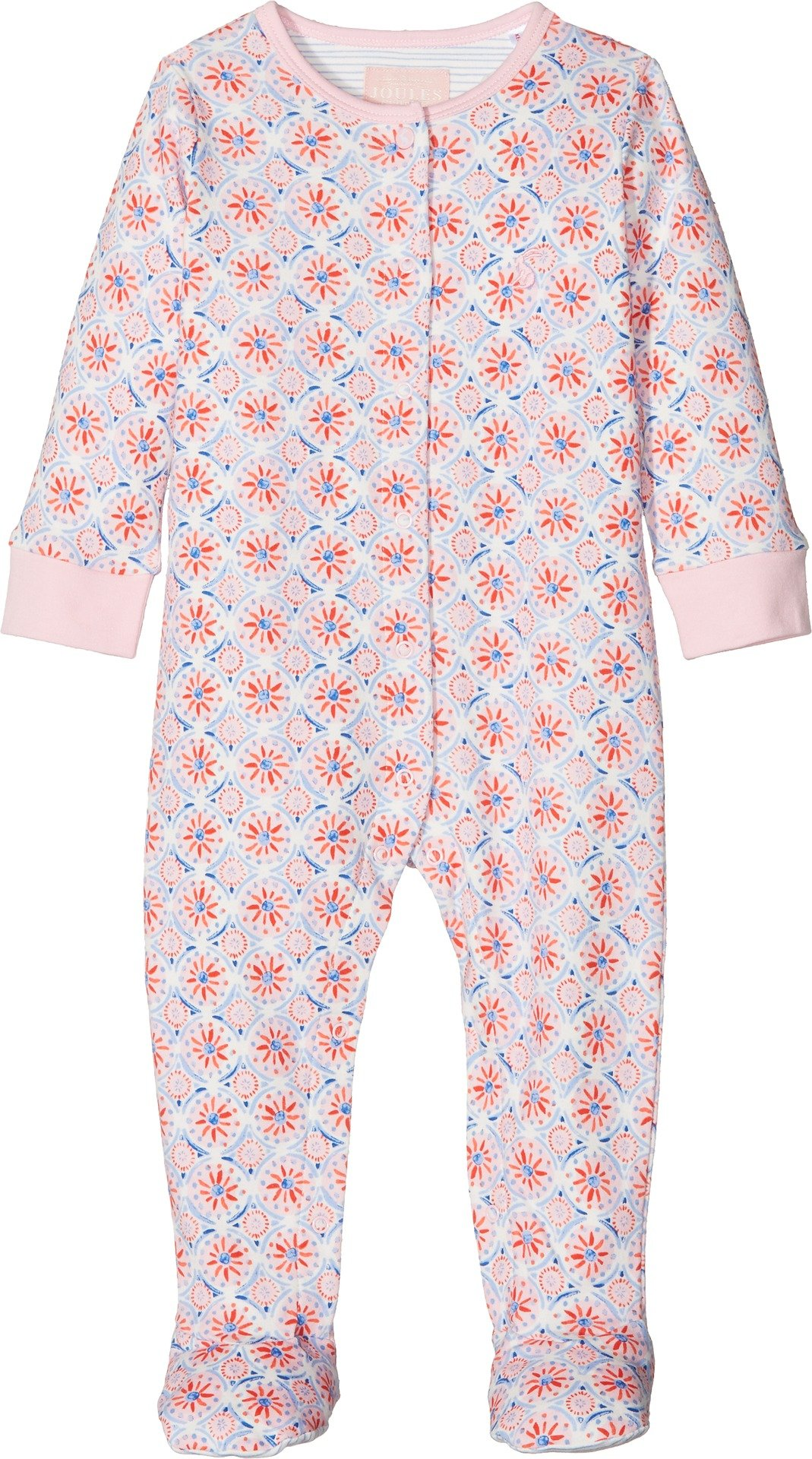 Joules Kids Baby Girl's All Over Printed Footie (Infant) Cream Summer Mosaic 6-9 Months