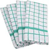 "DII 100% Cotton, Machine Washable, Ultra Absorbant, Basic Everyday 16 x 26"" Terry Kitchen Dish Towel, Set of 4- Aqua Window Pane"