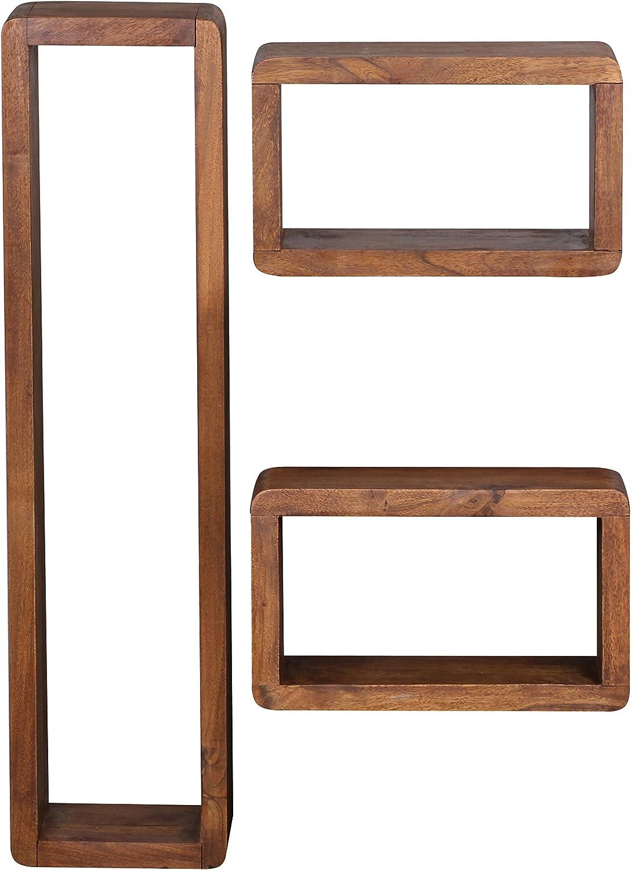 Wohnling De Madera de Acacia Maciza Conjunto de 3 estanter/ías de Pared Cubes