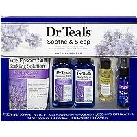Dr Teal's Lavender Soothe & Sleep Full Regimen 5-piece Gift Set (Epsom Salt Soaking Solution, Foaming Bath, Body Wash…