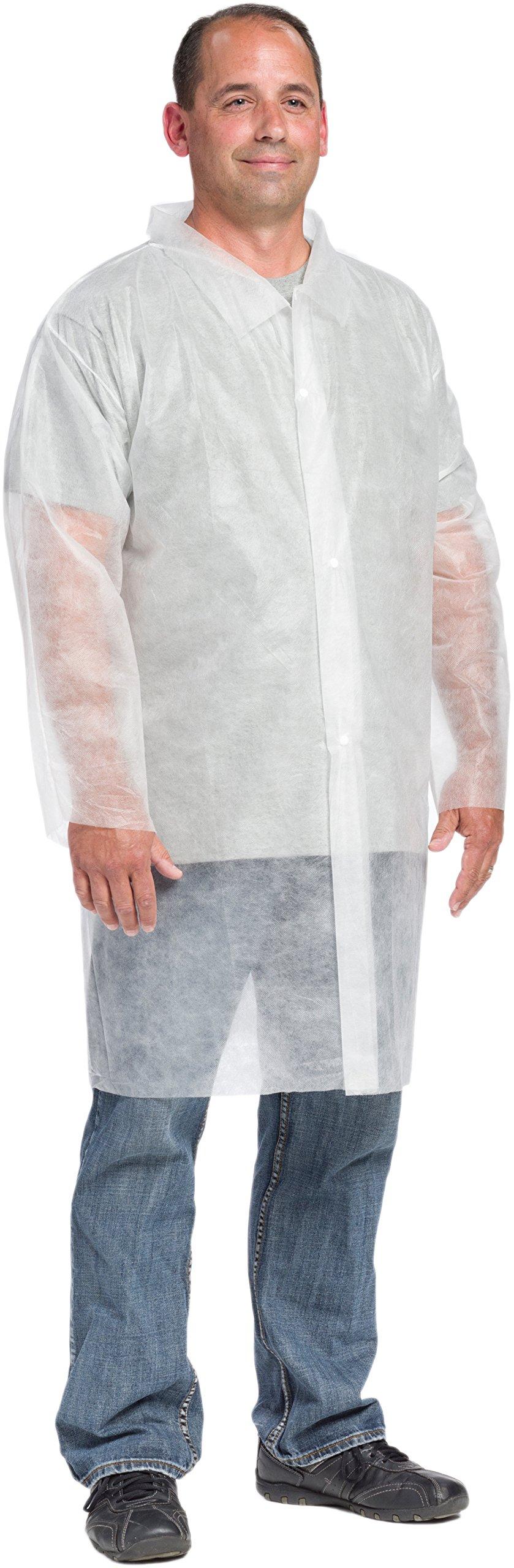West Chester 3511 M Polypropylene Std.WGT. Sbp Lab Coat, No Pocket, White, Medium (Box of 30)