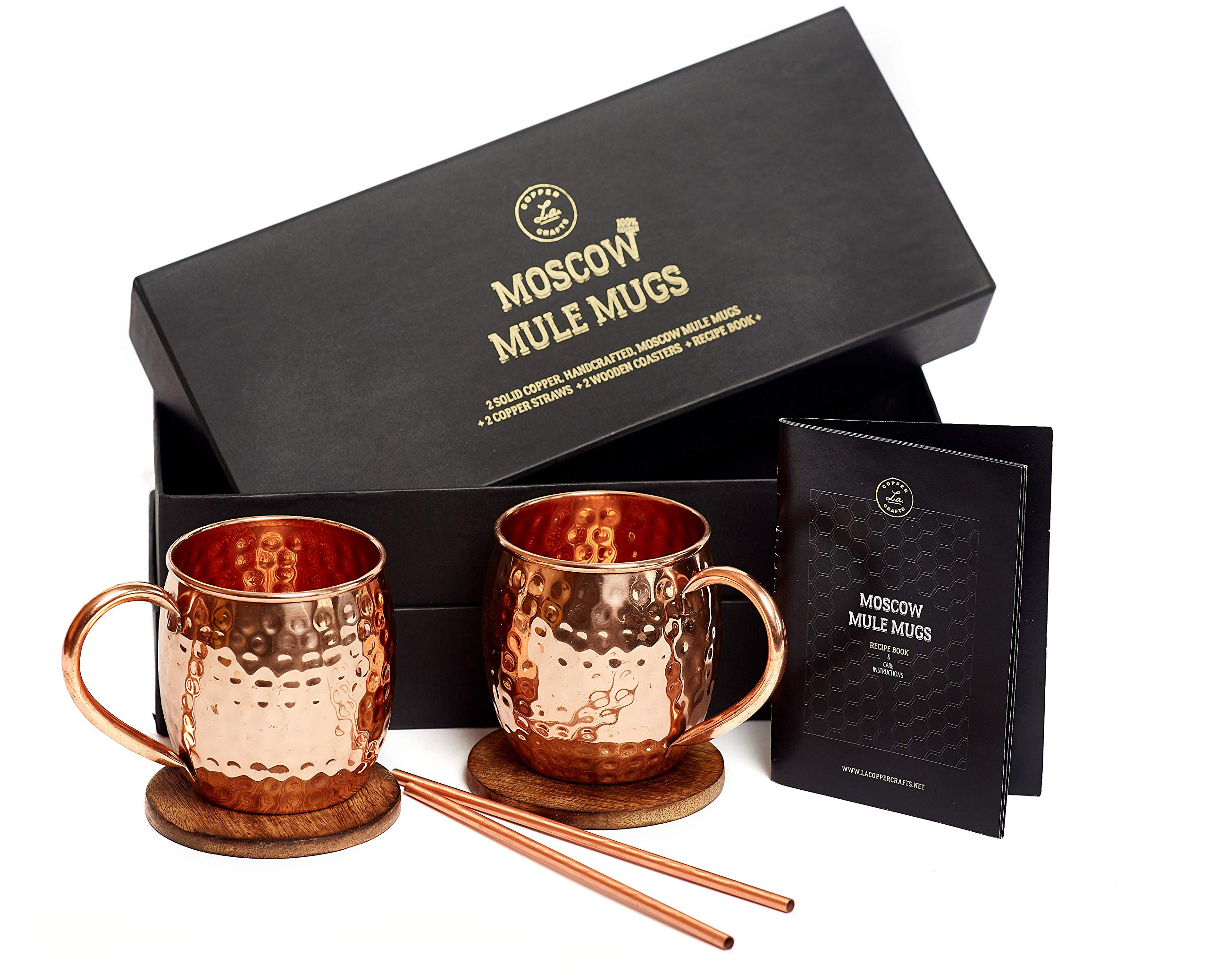Moscow Mule Mugs Gift Set, 2 Authentic Handcrafted Copper Mugs (16 oz.), 2 Straws, 2 Solid Wood Coasters and Recipe Book