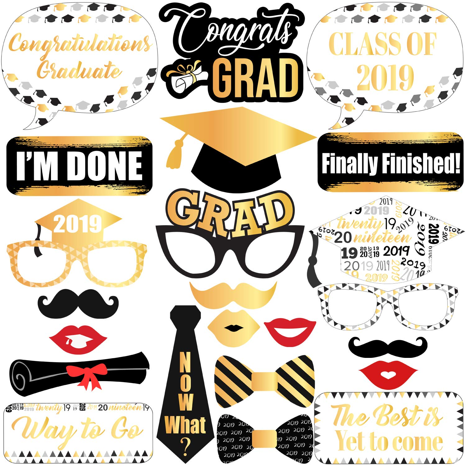 2020 Graduation Party Supplies.Graduation Photo Booth Props Black And Gold Graduation Decorations 2019 Graduation Party Supplies 2019 Graduation Party Decorations Class Of
