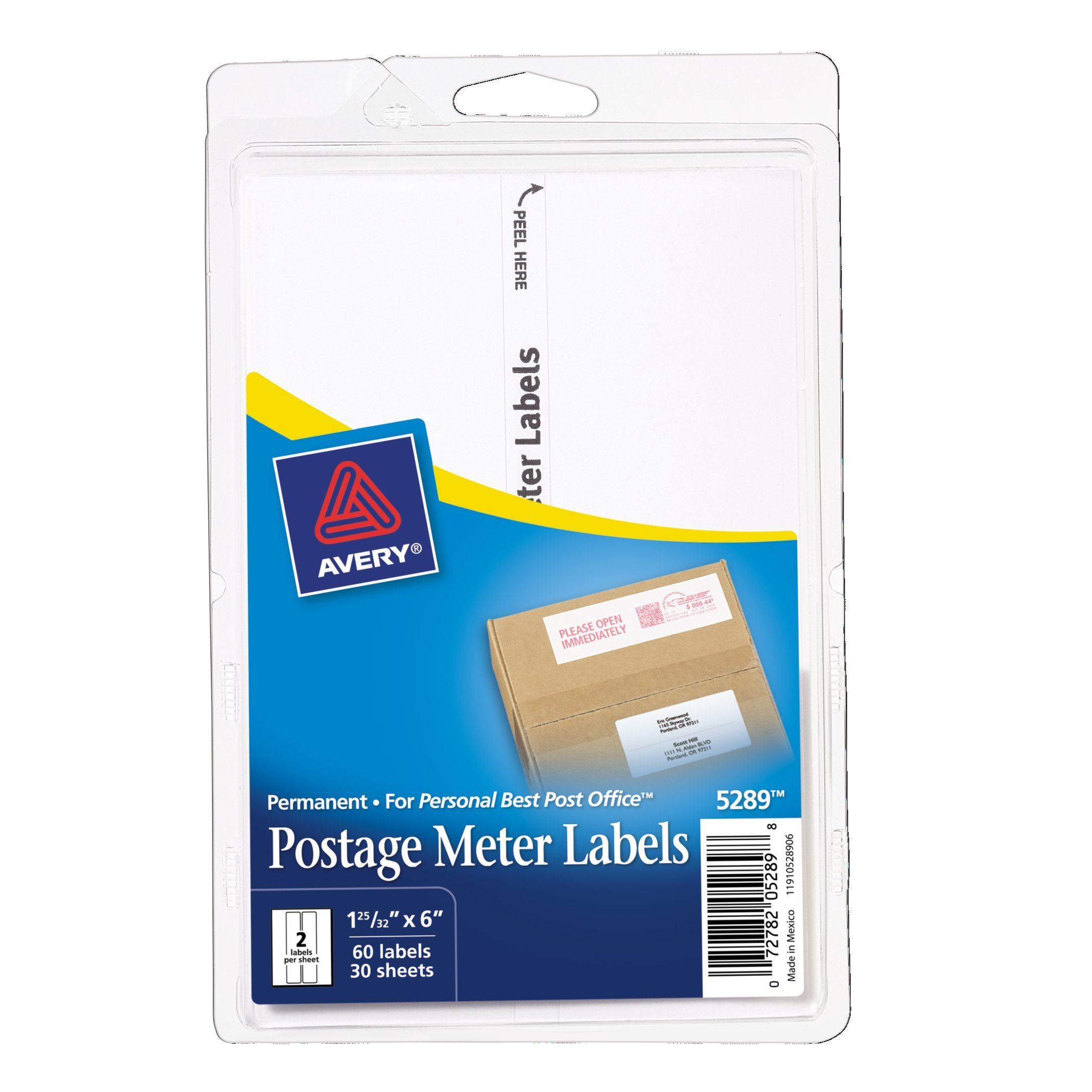 Avery Postage Meter Labels for Personal Post Office 1-25/32'' x 6'', Pack of 60 (5289)