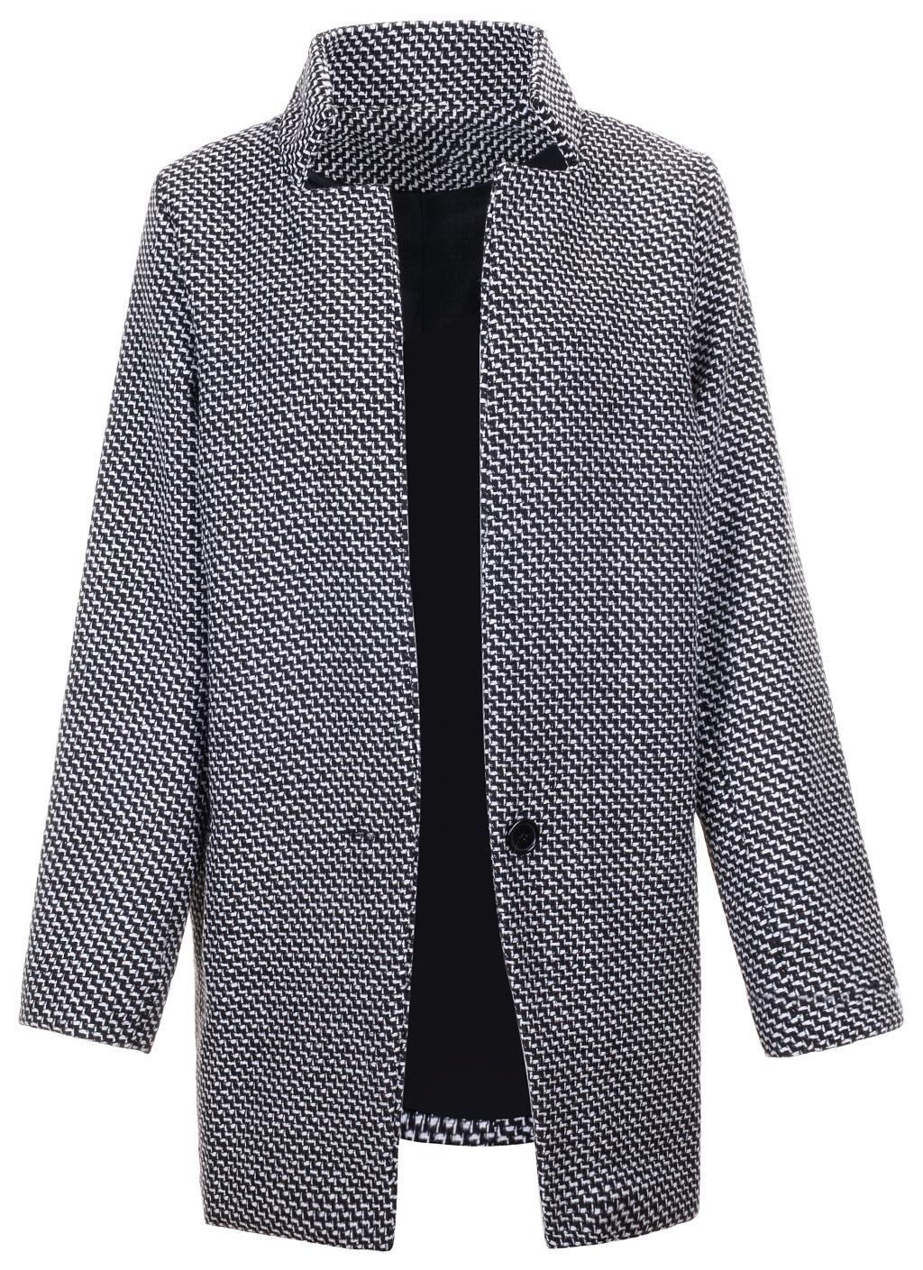 QZUnique Women's Fashion Style Slim Fit Thicken Wool-Blend Cocoon Coat Gray S