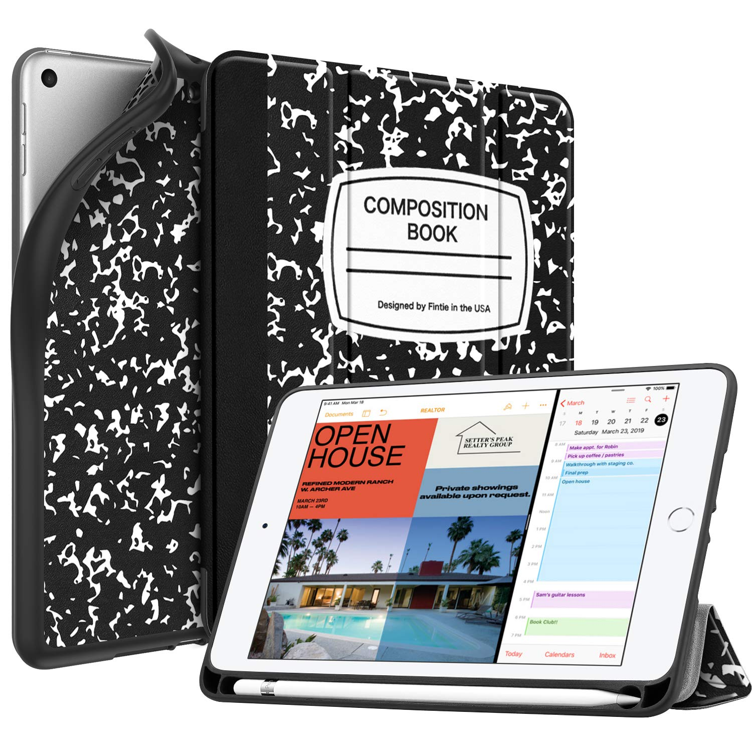 Lightweight Soft TPU Back Protective Smart Stand Cover with Auto Wake//Sleep for New iPad mini 5th Gen 2019 Black FINTIE Case with Pencil Holder for iPad mini 5 2019 - SlimShell