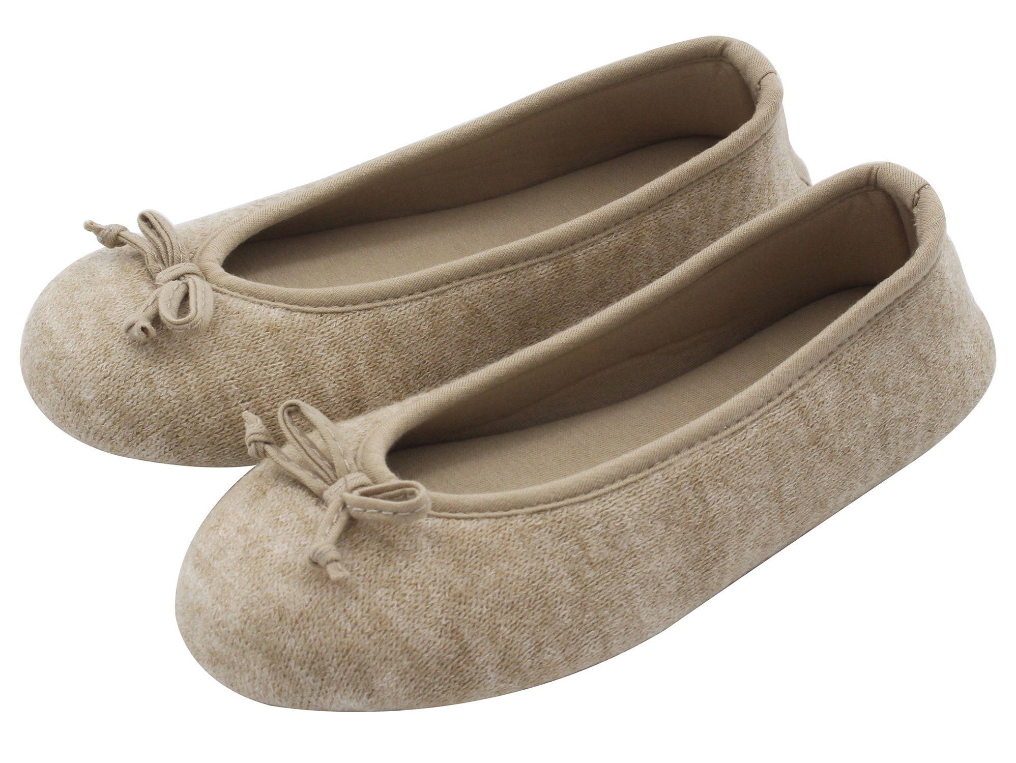 HomeTop Women's Elegant Cashmere Knitted Memory Foam Indoor Ballerina House Slippers/Shoes (Medium/7-8 B(M) US, Beige)