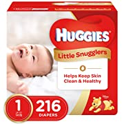 HUGGIES Little Snugglers Baby Diapers, Size 1, 216 Count, ECONOMY PLUS (Packaging may Vary)