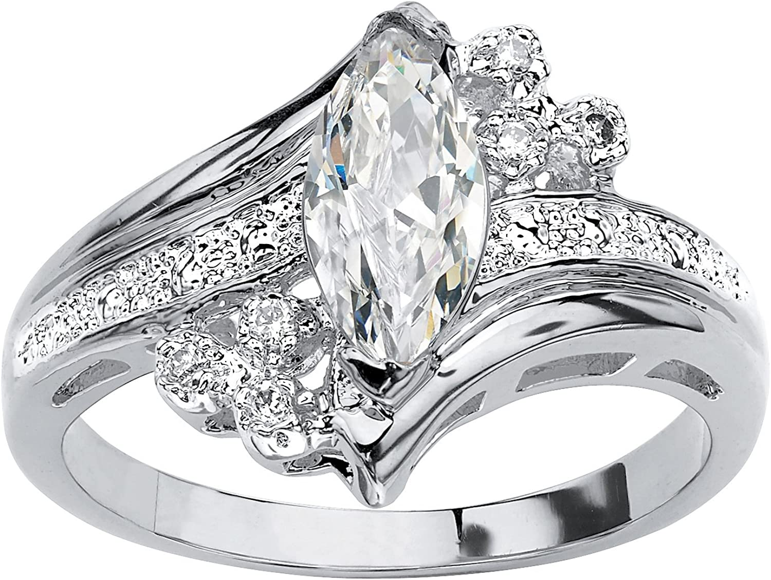 Palm Beach Jewelry Silvertone Marquise Cut Cubic Zirconia Engagement Ring