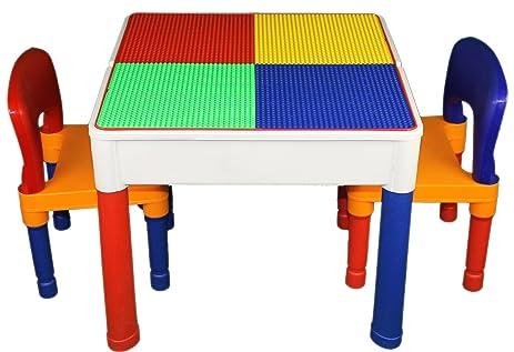 Amazon.com: 3 in 1 Kids Construction Table Lego & Duplo Compatible ...