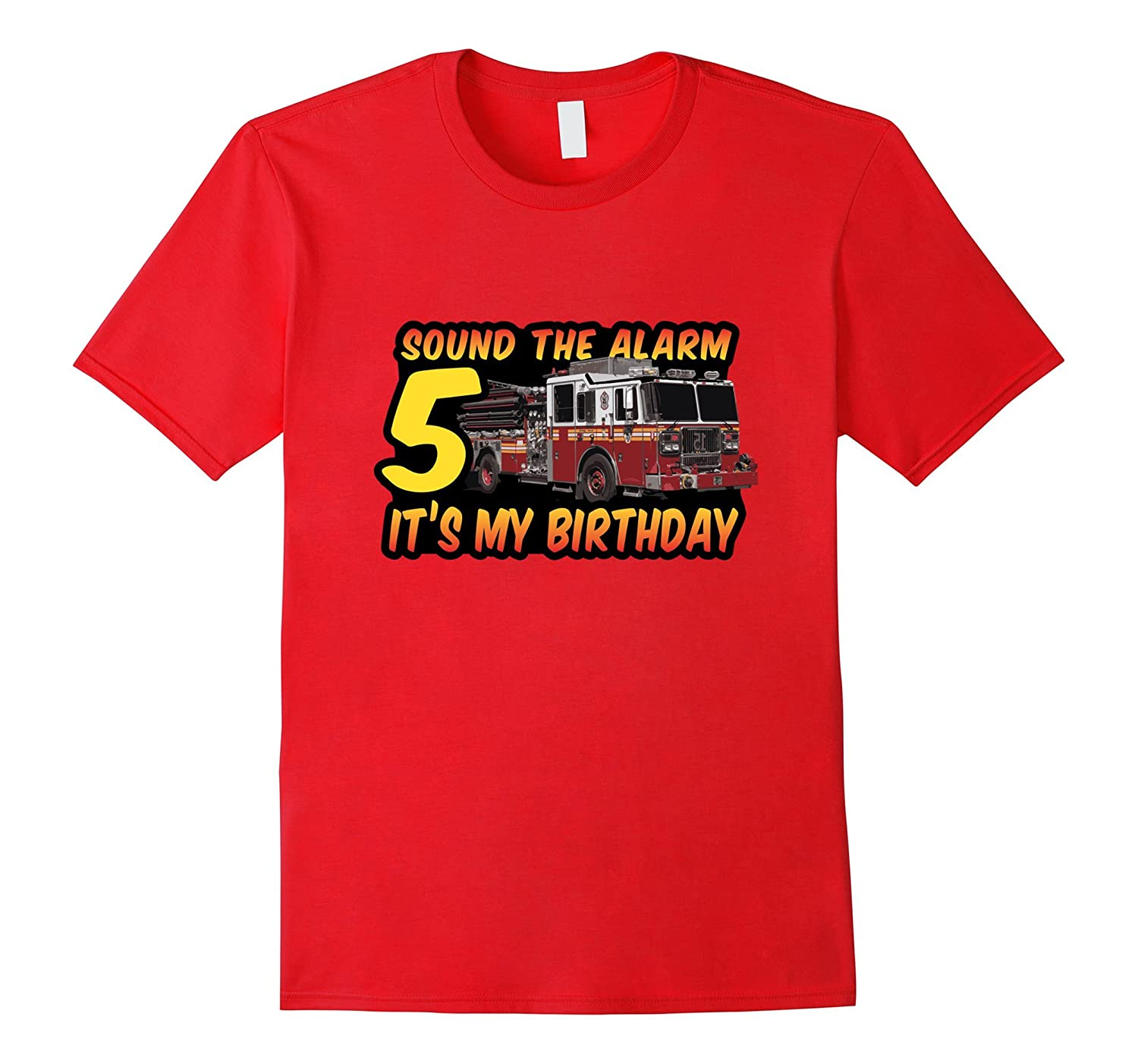 5th BIRTHDAY FIREMAN SOUND THE ALARM tshirt for big kids boy-TH