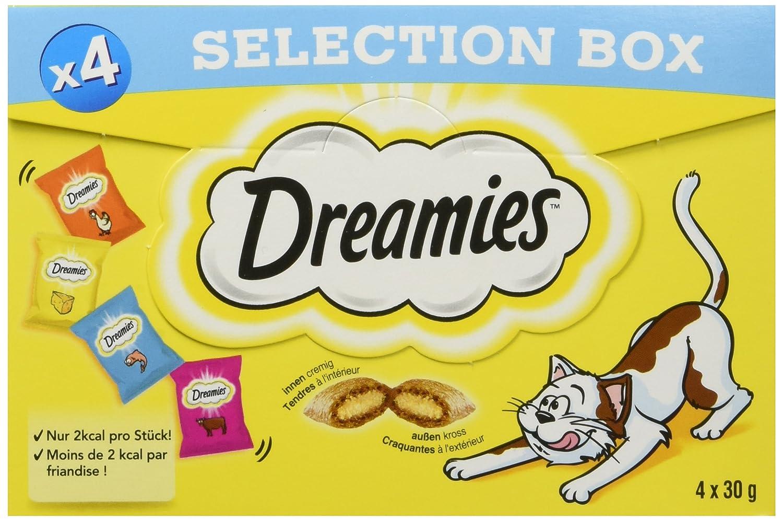 DREAMIES clá sico Gato Snack Selection Caja con Pollo, Queso, Vacuno y salmó n, 4 Paquetes (4 x 4 x 30 g) Vacuno y salmón 4Paquetes (4x 4x 30g) 4008429090271