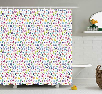 Ambesonne ABC Shower Curtain Cute Colorful Alphabet Bubble Letters Doodle Style Fun Childish Nursery