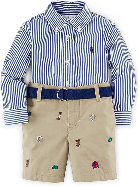 Ralph Lauren bebé niños popelina de camisa a rayas y bordado Schiffli pantalones cortos: Amazon.es: Bebé