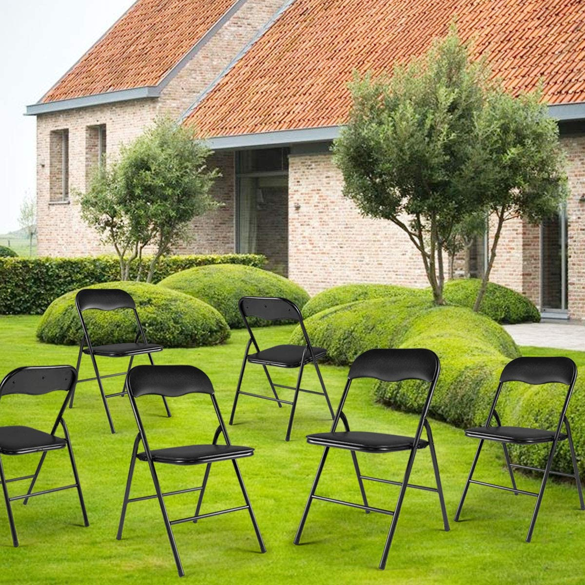 JAXPETY 6PCS Commercial Wedding Quality Stack-able Plastic Folding Chairs Black W Soft Cushion