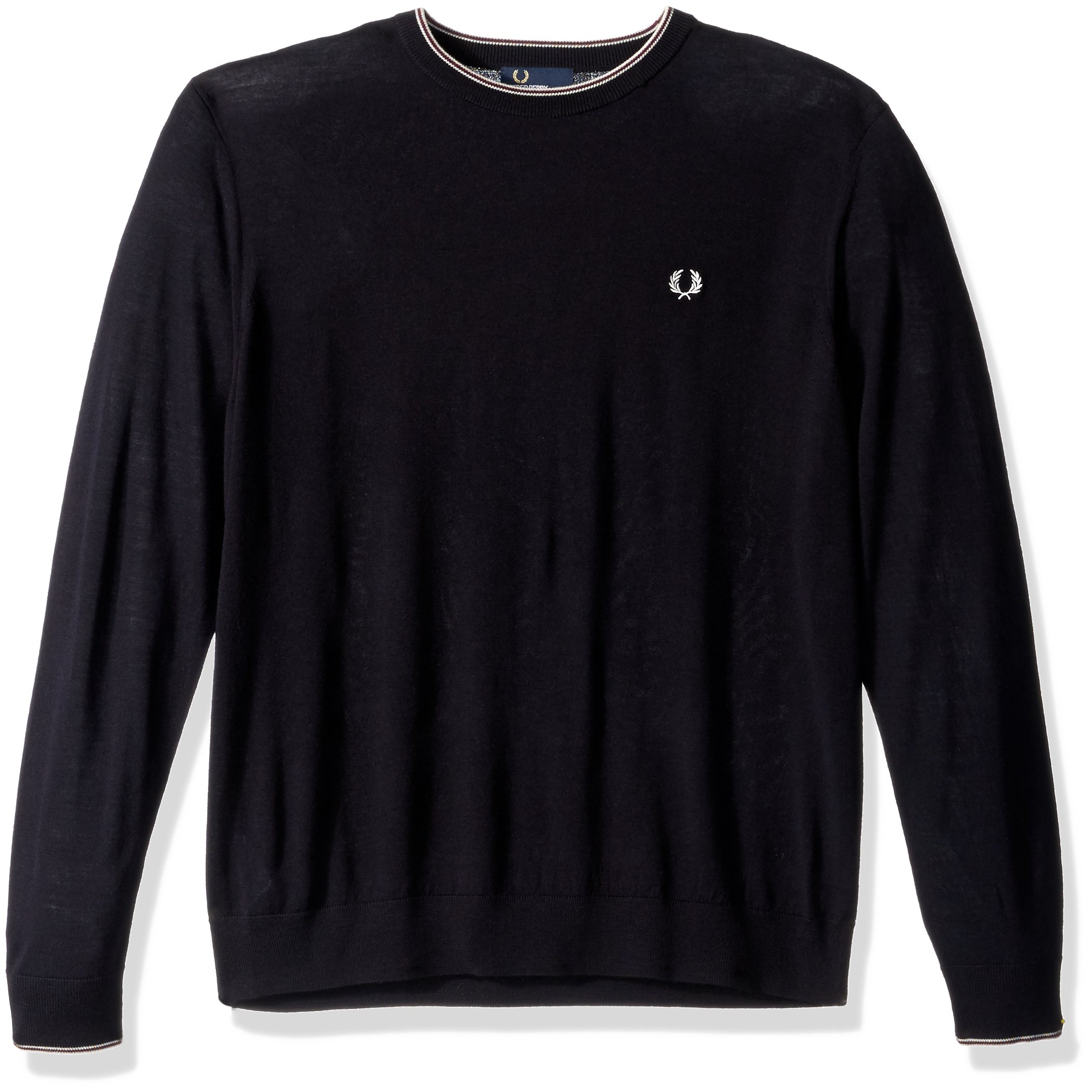 Fred Perry Men's Fine Merino Crew Neck Sweater, Navy, Large