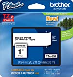 "Brother P-touch ~1"" (0.94"") Black on White Standard Laminated Tape - 26.2 ft. (8m)"