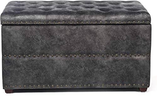 Edeco Rectangular Storage Ottoman with Button Tufted Design Fabric Bench,Grey