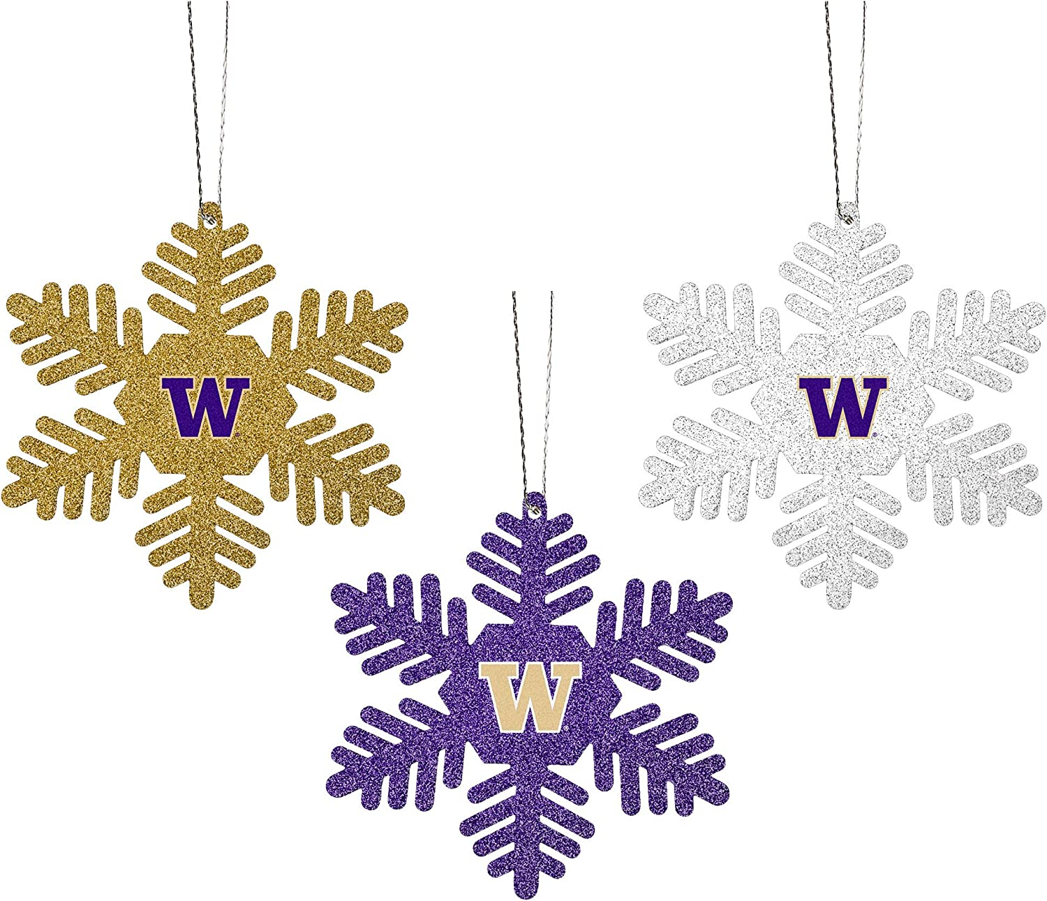 FOCO NCAA Unisex-Adult 3-Pack Metal Glitter Snowflake Holiday Christmas Tree