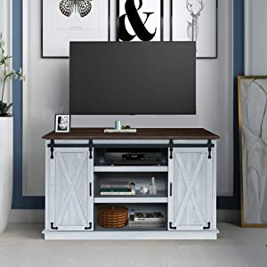 GHQME Sliding Barn Door TV Stand,58 Inch Storage Table,3 Tiers Wood Universal Stand,Living Room Storage Shelves Entertainment Center (Brown&Sliver)