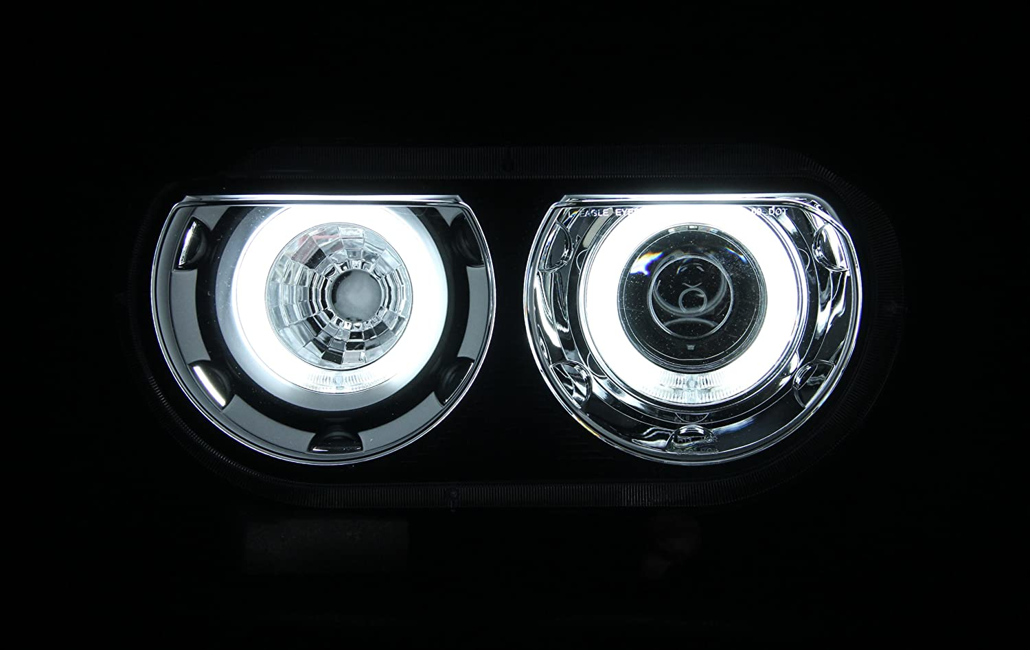 Amazon com anzousa 121308 black clear dual projector halo headlight for dodge challenger sold in pairs automotive