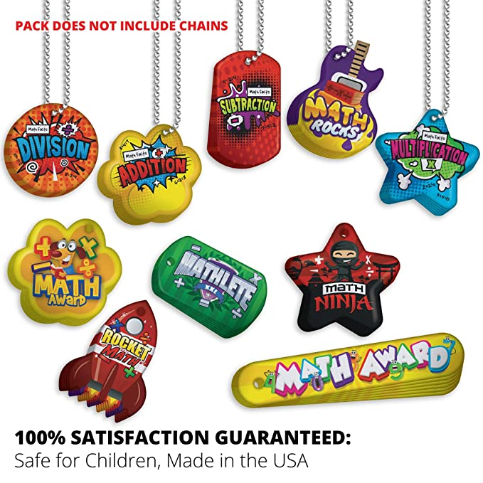 Build Basic Math Skills Brag Tag Value Pack: 250 Tags (25 Tags for Each Shape) + 75 Chains