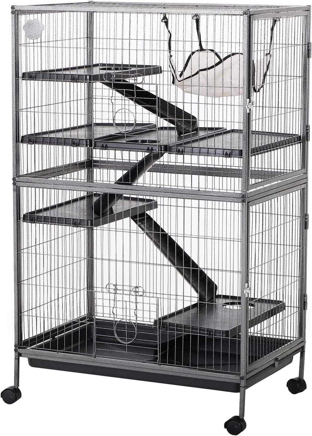 Pawhut Cage pour Hamsters Souris Petits rongeurs Multifonction 4 Plateformes 3 rampes 4 Portes dim. 80L x 52l x 128H cm métal Gris argenté Noir