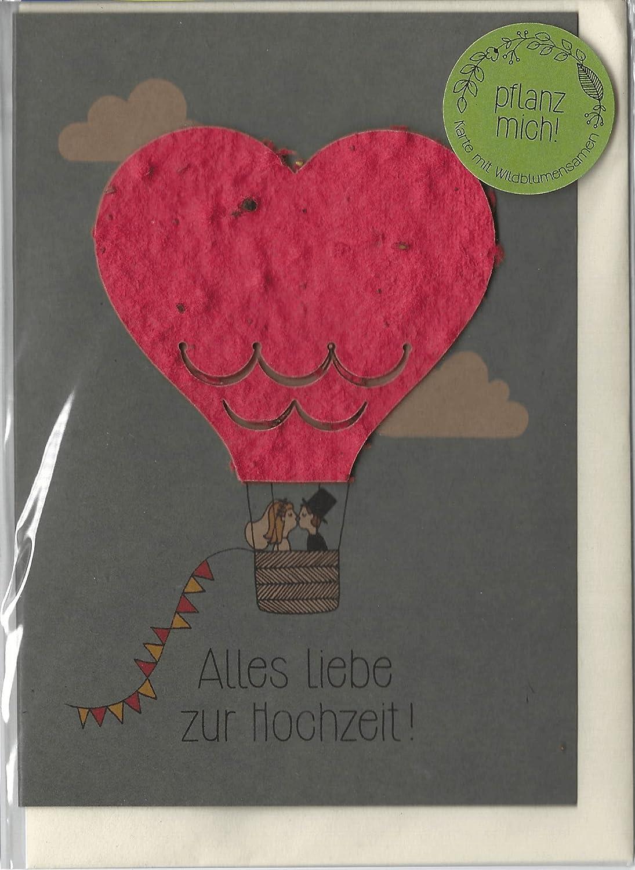 Tarjeta de felicitación para boda con diseño de globo de aire ...