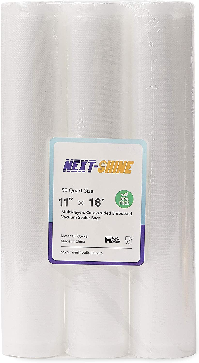NEXT-SHINE Vacuum Sealer Rolls 3 Pack Compatible 11 Inches x 16 Ft Embossed Commercial Grade Food Saver Bags