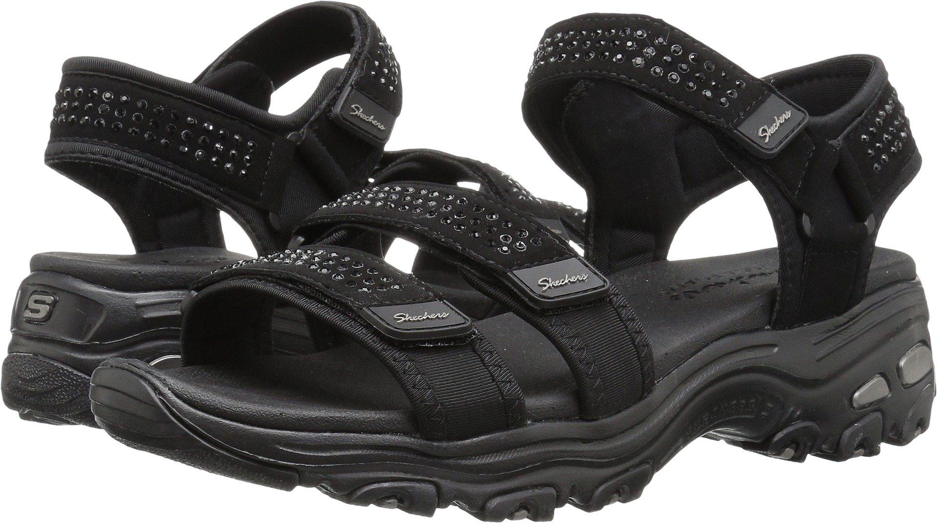 Skechers Women's D'Lites-Retro Glam-Rhinestone River Style Sporty Comfort Sport Sandal, Black/Black, 10 M US