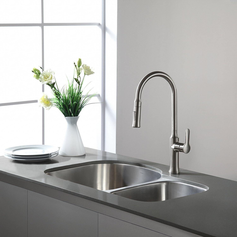 Kraus KBU21 30 Inch Undermount 60/40 Double Bowl 16 Gauge Stainless Steel  Kitchen Sink     Amazon.com