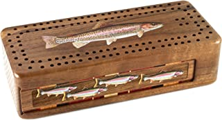 product image for Fish Engraved Wooden Cribbage Board with Metal Pegs and Deck of Cards