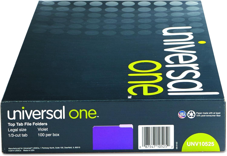 UNIVERSAL File Folders 1//3 Cut One-Ply Top Tab Legal Violet//Light Violet 100//Box