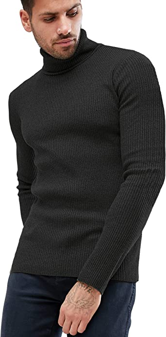 Domple Mens Fashion Long Sleeve Knit Turtleneck Jumper Pullover Sweater