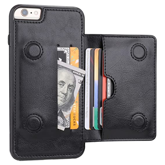 b2e3cb29cda iPhone 6 Plus iPhone 6S Plus Wallet Case with Credit Card Holder, KIHUWEY  Premium Leather