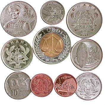 Ghana 10 Monedas 1 PESEWA - 1 CEDI. Antigua COLECCIÓN DE Monedas ...