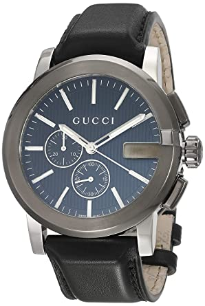 37b56f93a37 Image Unavailable. Image not available for. Color  Gucci G-Chrono Black  Dial Leather Mens Watch YA101205