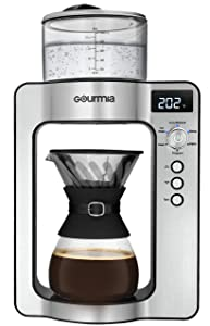 Gourmia GCM3350 Fully Automatic Pour Over Coffee Brewer - Built-in Scale with Auto Ratios - Rotating Spout - Authentic Barista Pour - Programmable Timer - Custom Temperature & Ratios - Glass Carafe