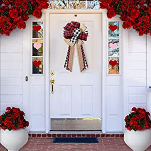 Home Sweet Home Garland Decoration Sign Front Door Decor Buffalo Plaid Decorative Bow, Valentine's Day Decorations Ornaments of Wreath, Valentine Wedding Birthday Party — Handmade