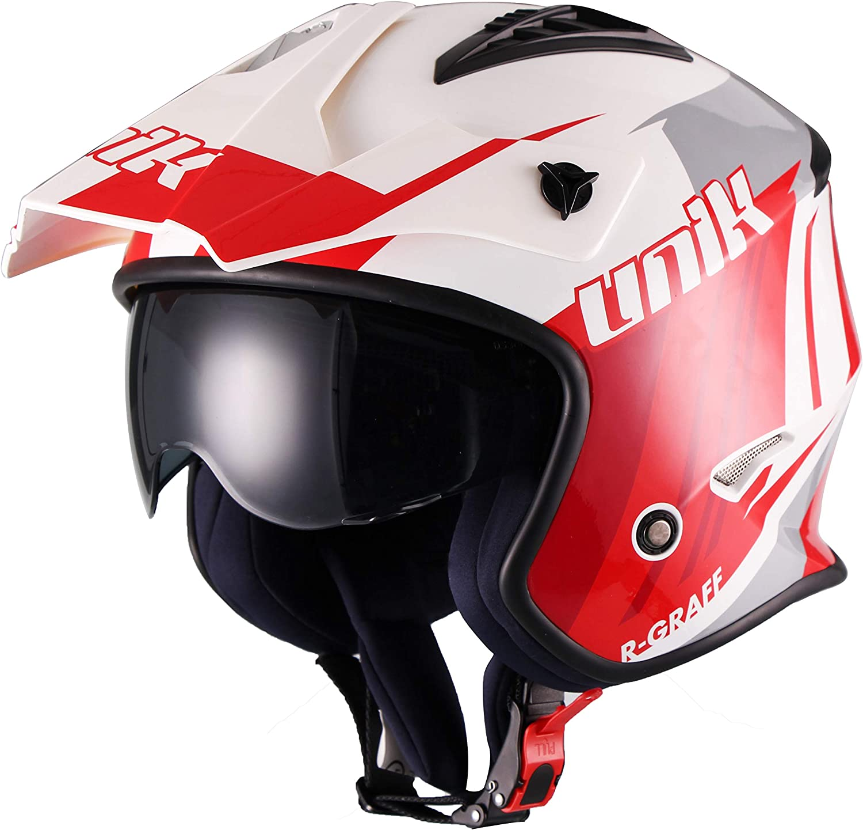 White//Red//Grey Unik Ct-07 Trial Helmet With Sun R-Graff L