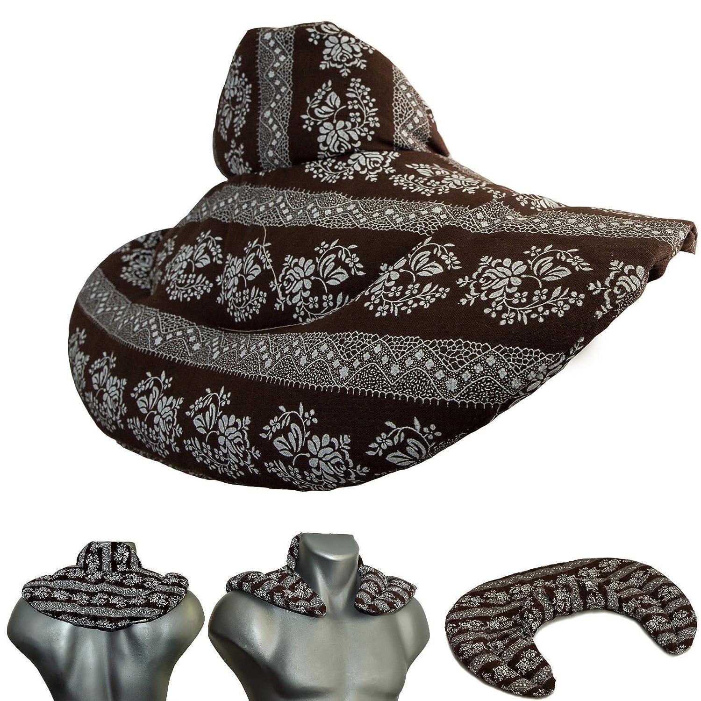 Almohada para el cuello | flores-marrón | Semillas de lino ...