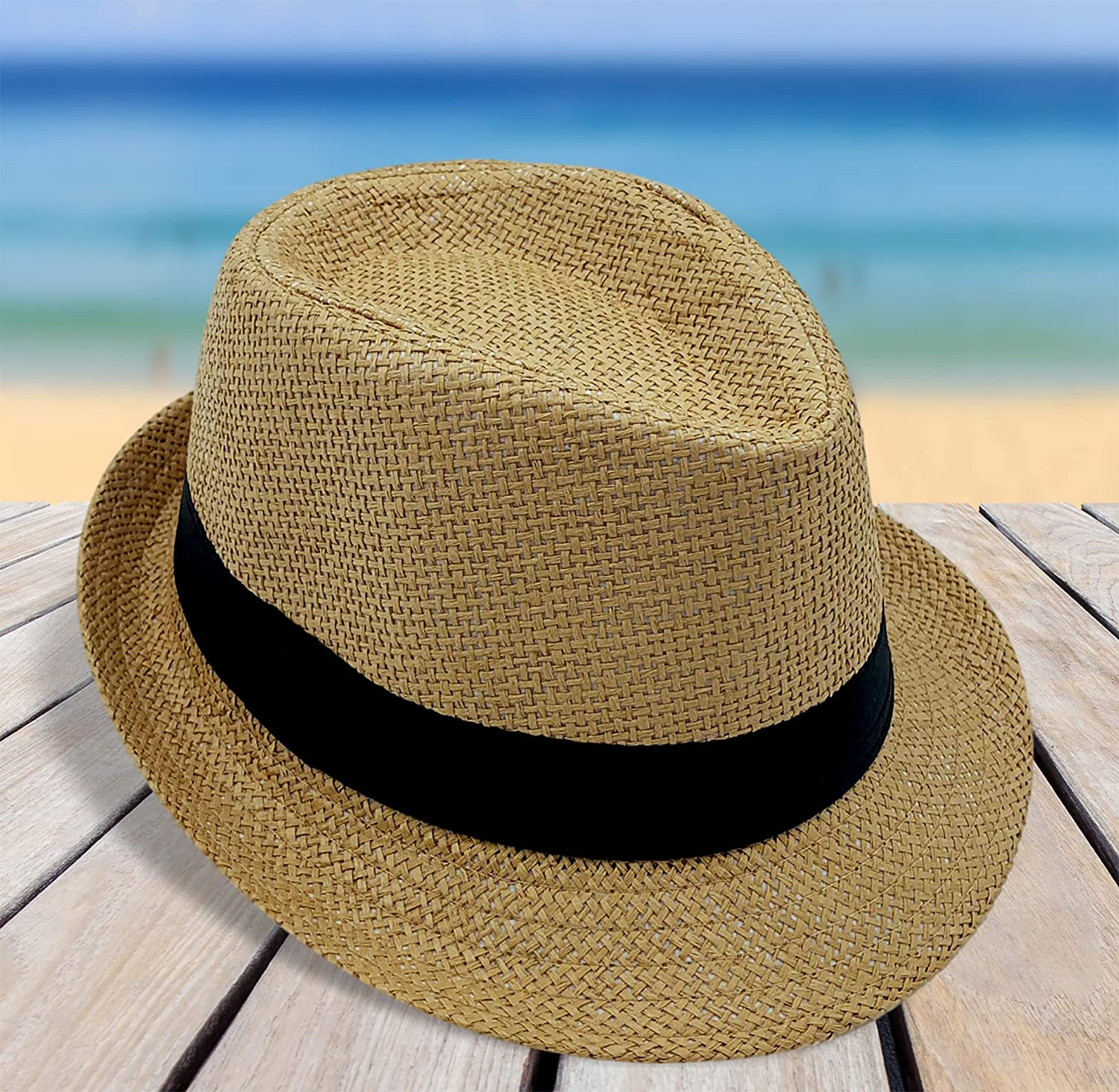 Straw Summer Hats for Boys and Girls CD Fedora Hats for Kids Youth Vintage Banded Style Trilby Gangster Hat