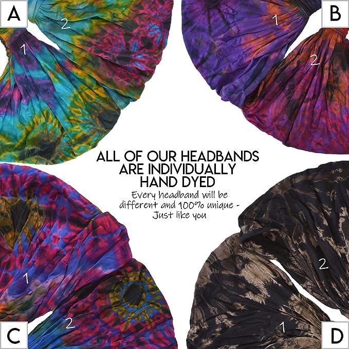 Charm Casualbox Tie Dye Hippie Headband Elastico Bandana Testa Copertina Incarto Per Uomo /& Donna Fiore Modello 60S 70S Retr/ò