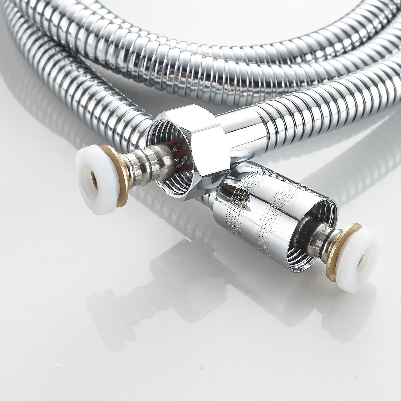 Manguera de ducha 1,5 m, nueva tecnología antitorceduras y antideflagrante, hecha de acero inoxidable con conector de latón macizo, cromada: Amazon.es: ...