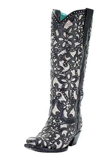 cac792aed7f Corral Women's Full Inlay   Studs Cowgirl Boot - Black - BLACK ...
