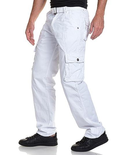 Pantalon BLZ Ceinture Homme avec Cargo Jeans Blanc rzqEwzx5Y c4b5421e666